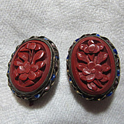 Old Cinnabar Clip Earrings