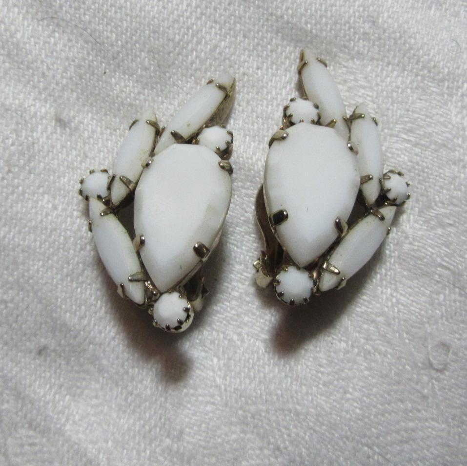 White glass Clip Earrings