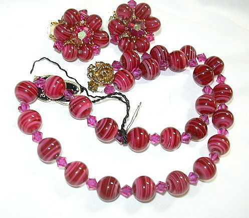 Hobe Signed PInk Red Glass Beads Necklace & Clip Earrings