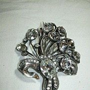 Eisenberg Original Sterling Rhinestone Clip Brooch Signed Jewelry