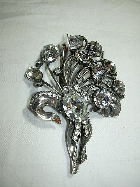 Eisenberg Original Sterling Rhinestone Clip Brooch Signed Jewelry