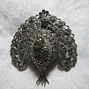 Marcasite Sterling Peacock Bimesa Watch  Brooch Pin Swiss Movement