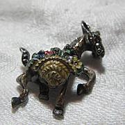 German Marcasite Enamel Sterling Silver Donkey Burro Horse Pin