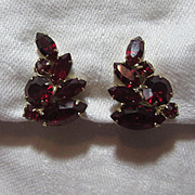 Weiss Red Rhinestone Clip Earrings