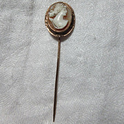 Antique Shell Cameo Stickpin Rare Hand Carved Fine Jewelry