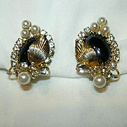 Hobe Clip Earrings black Gold & Faux Pearl