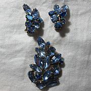 Regency Signed Blue Rhinestone Brooch Earring Set Demi Parure