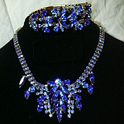 Capri Blue Brilliant Rhinestone Necklace Bracelet Set Demi Parure