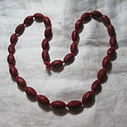 Red Cinnabar Beads Necklace