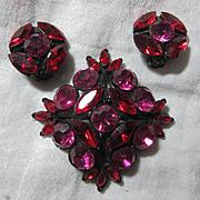 Red & Fuschia Pink Rhinestone Brooch Earring Set