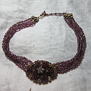 Unsigned Robert Amethyst Glass Beads & Medallion Necklace
