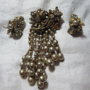 Miriam Haskell Signed Old Draped Brooch & Clip Earrings