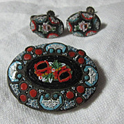Italian Mosaic Brooch  Earring Set