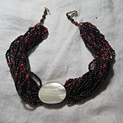 Black  Red Beaded Choker Necklace MOP Mother Of Pearl Center