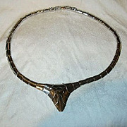 Old Monet Silver Tone Metal Deco Necklace