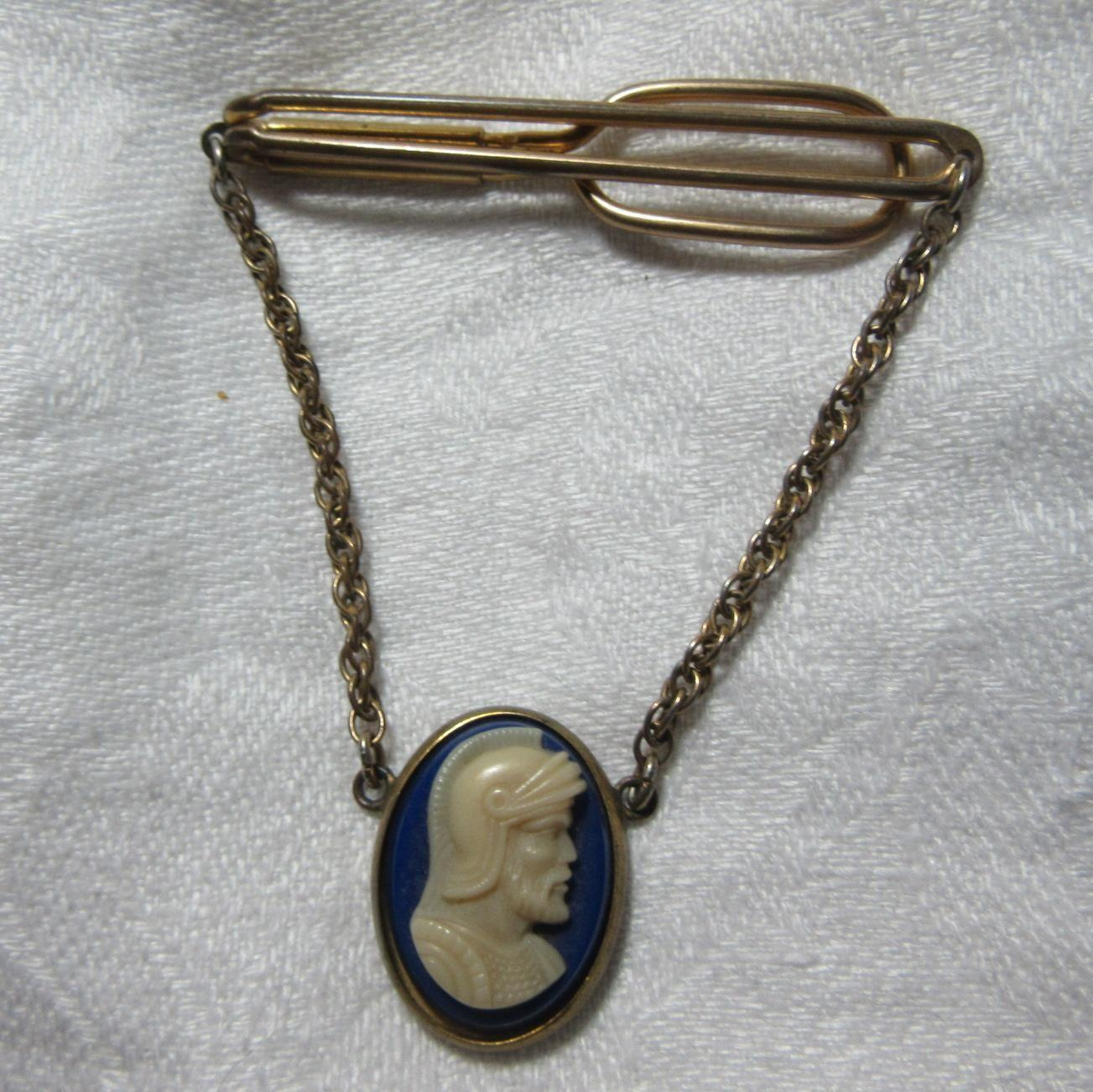 Old Tie Bar With Cameo Pendant