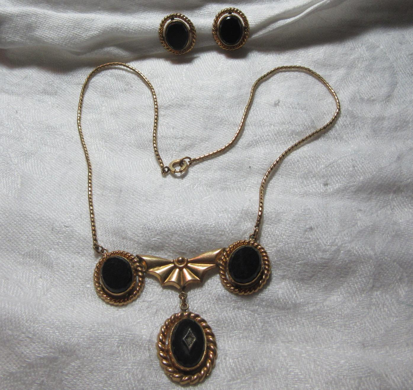 Gold Filled & Black Onyx Pendant Necklace & Earring Set