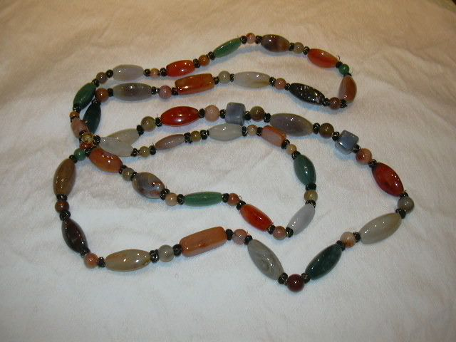 Large Real Semi Precious & Agate Stones Necklace