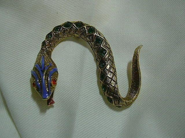 Signed Art Snake Pin Green Stones & Enamel