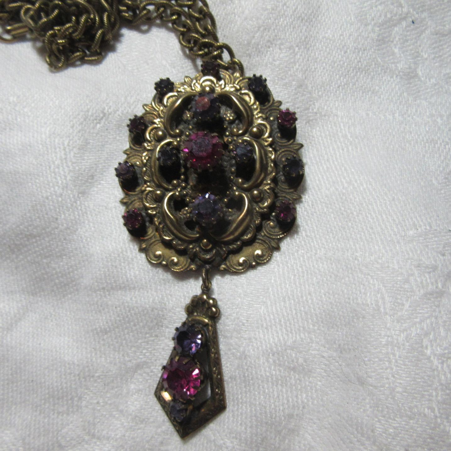 St Labre Signed Magnificent Brooch Pendant Necklace Purple Pink Stones