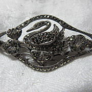 835 Silver Swan Brooch Pin Marcasites