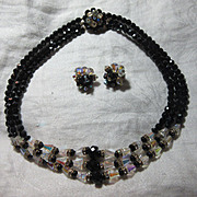 Crystal Black Beads & Rhinestone Necklace & Clip Earring Set