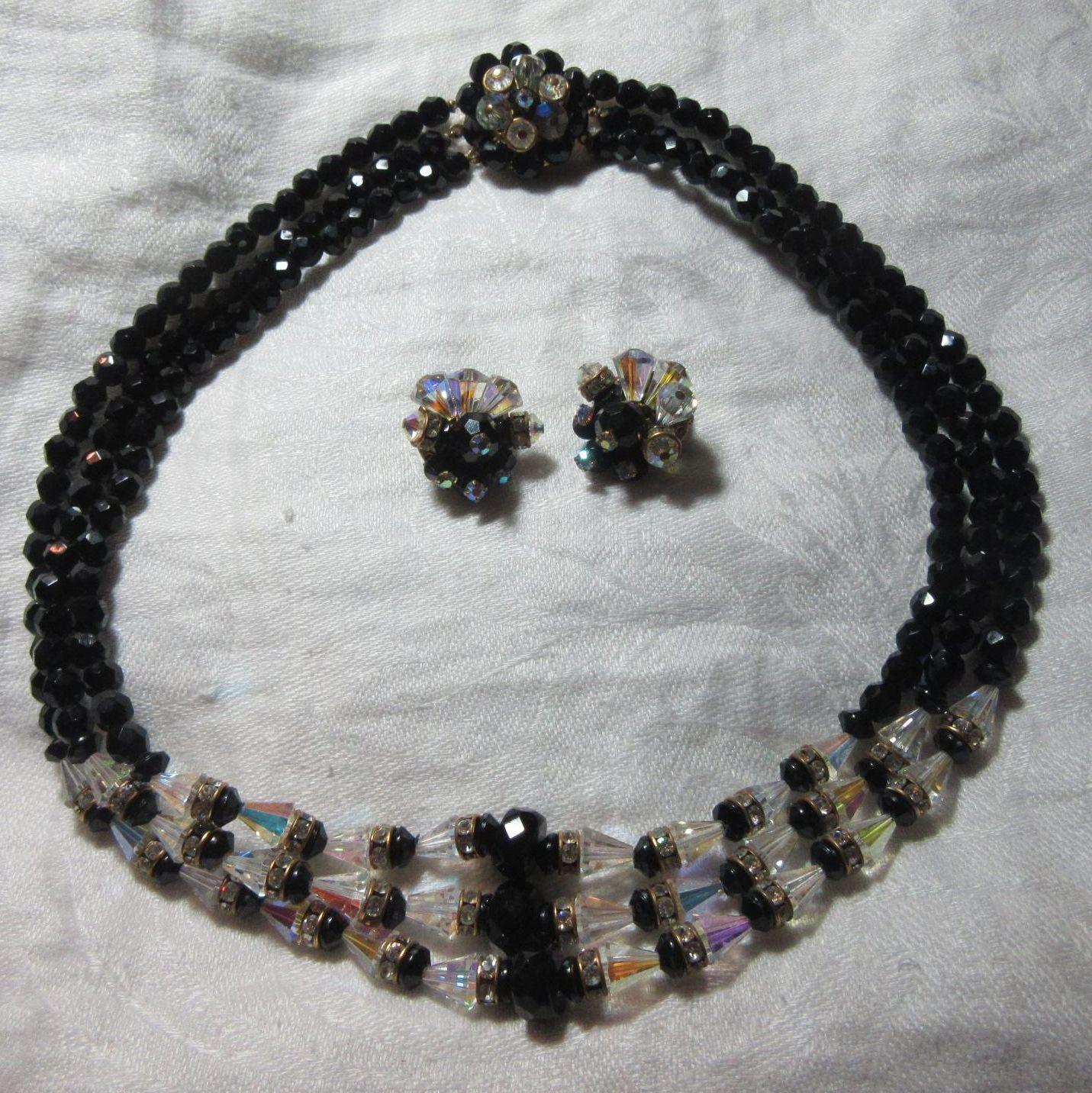 Crystal Black Beads & Rhinestone Necklace & Clip Earring Set
