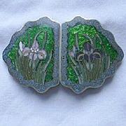 Art Nouveau Early Buckle Cloisonne Lilies