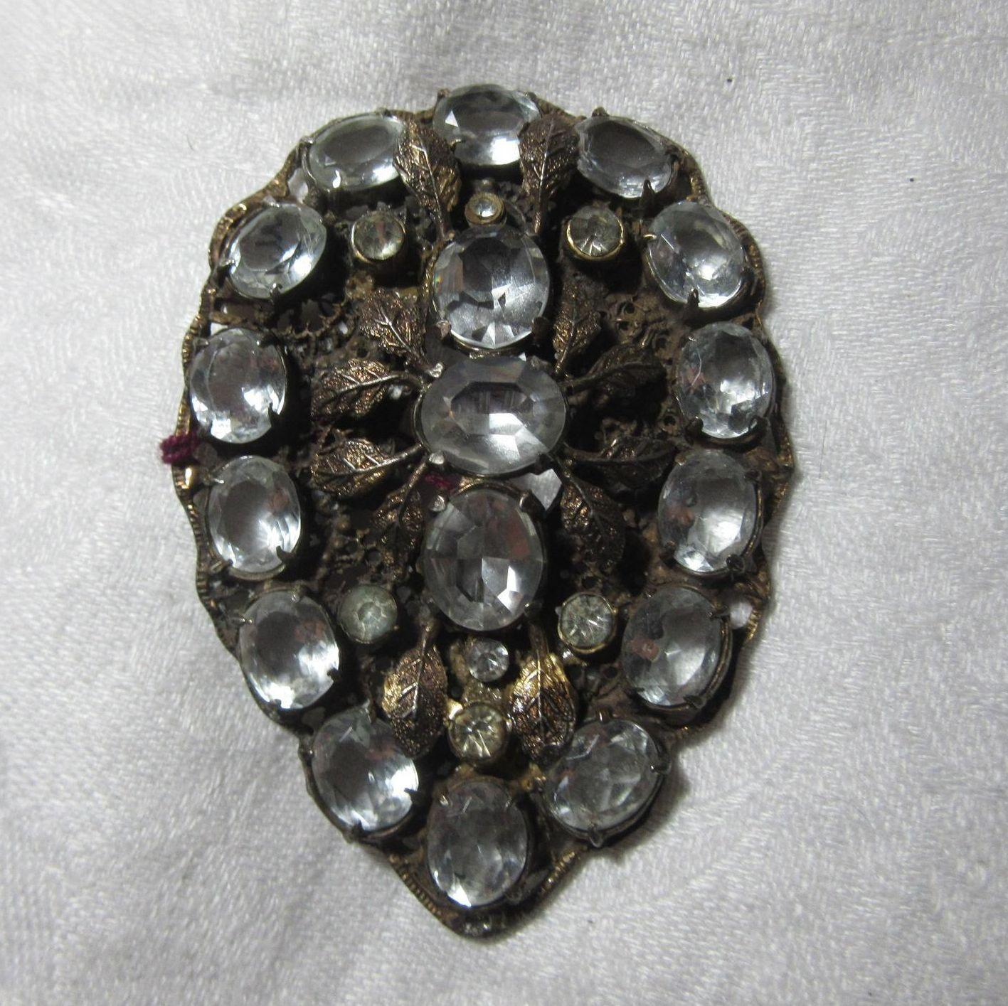 Old Filigree Brooch Huge Faux Diamonds Rhinestones