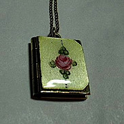 Gold Filled LaMode Enamel Locket & Chain