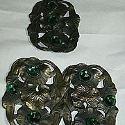 Clip & Buckle Set Art Nouveau Green Stones