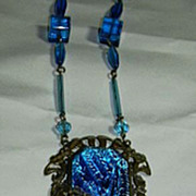 Peacock Blue Iridescent Pendant Art Glass Necklace