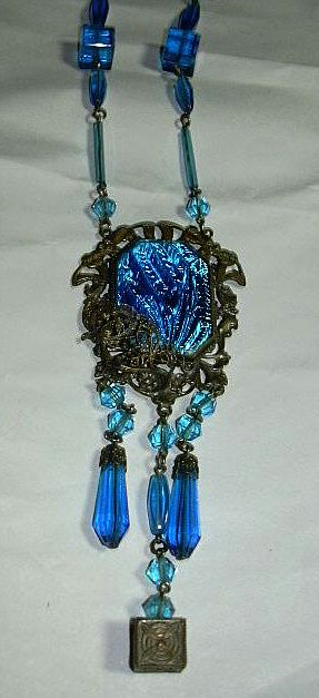 Peacock Blue Iridescent Pendant Art Glass Necklace