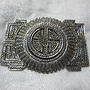 Sterling Marcasite Faux Diamonds Brooch Art Deco