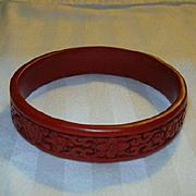 Cinnabar Red Bangle Bracelet