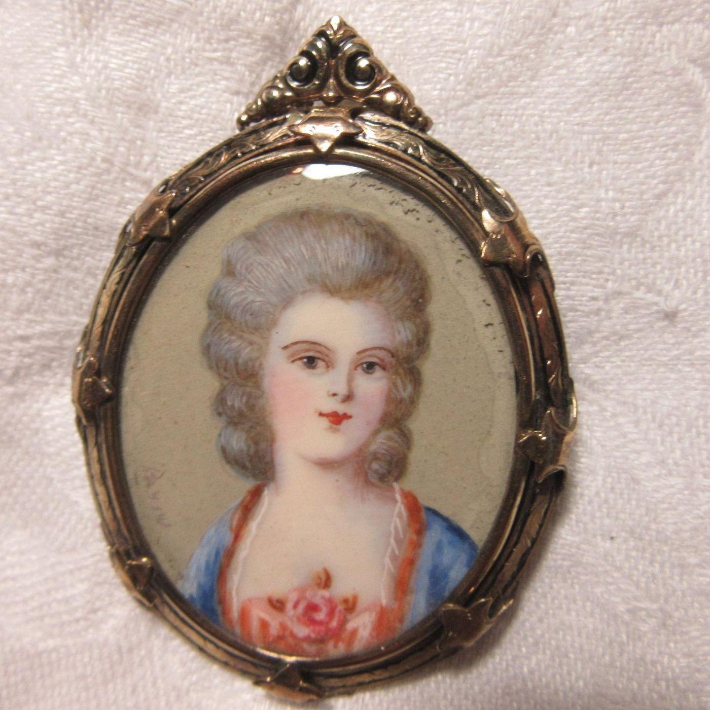 Miniature Portrait Brooch Elegant Lady Jewelry Art