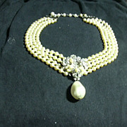 Eugene Faux Pearls & Rhinestone Drippy Pendant Costume Jewelry Necklace