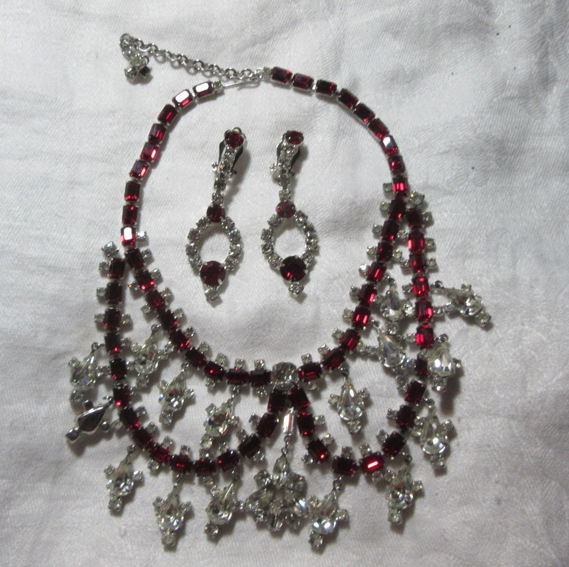 Marvella Rhinestone & Red Stone Old Necklace & Clip Earrings