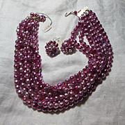 Hot Pink Faux Baroque Pearls Beads Necklace & Clip Earrings Demi Parure