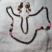 Stigi Red Beads Necklace Earring Set