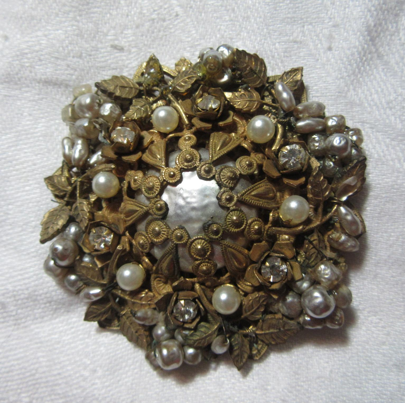 Miriam Haskell Large Brooch Faux Pearls Rhinestones Signed Vintage Costume Jewelry