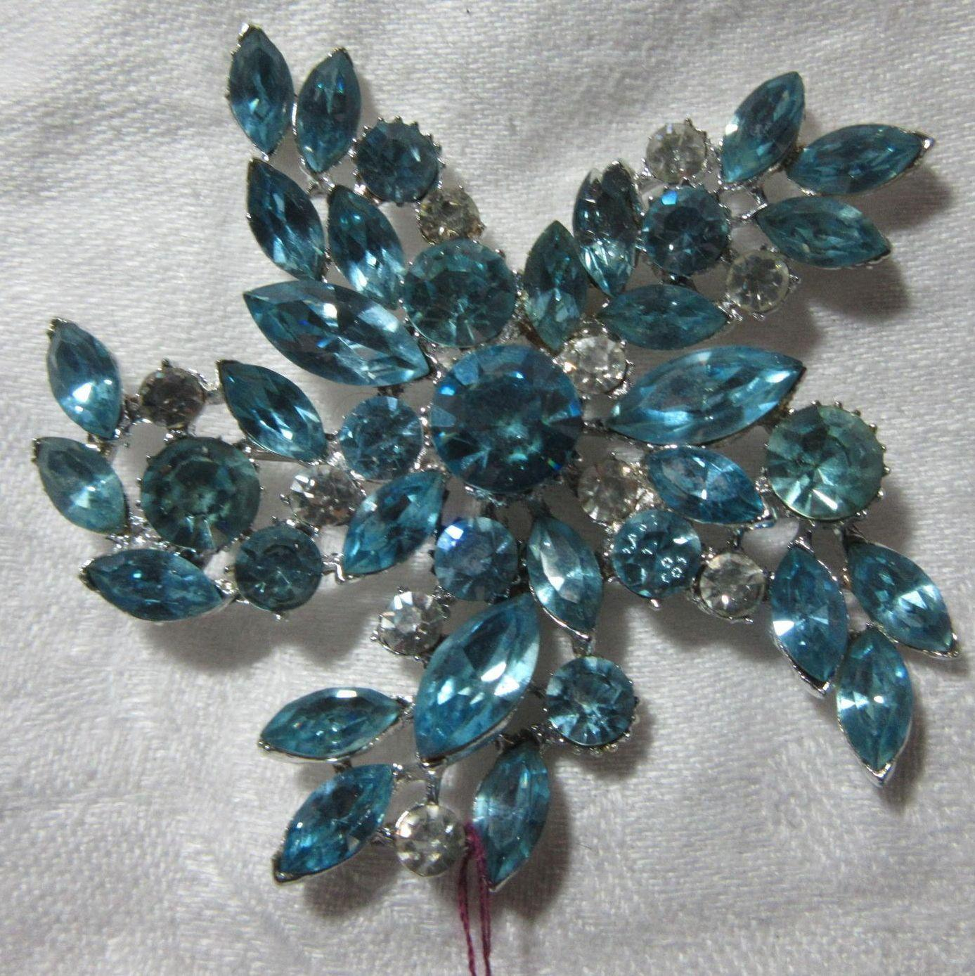 Large Aqua Blue Rhinestone Brooch