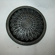 Large Impressive Old Black Button Filigree Overlay