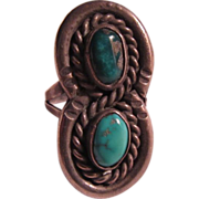 Signed Native American Ring Silver Turquoise Size 8
