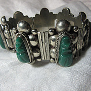 Mexican  Sterling Bracelet With Green Onyx Faces Signed Jewelry