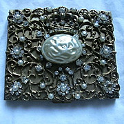Jeweled Compact With Crown Design