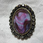 Schrager Vintage Art Glass Brooch Pin