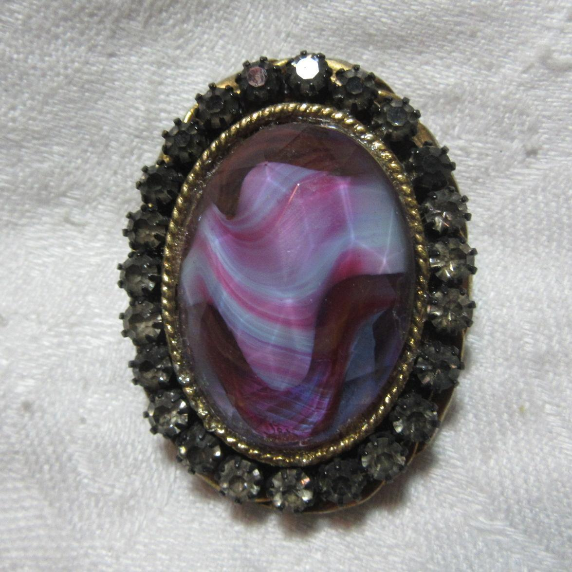 Schrager Vintage Art Glass Brooch Pin