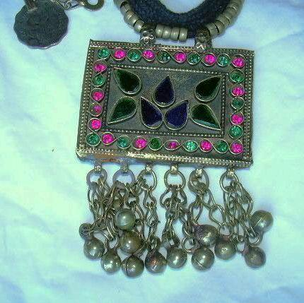 Middle Eastern Pakistani Huge Jeweled Necklace Belt  Pendants Hanging