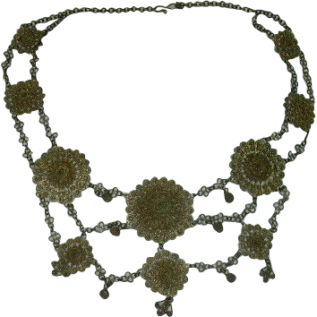 Brass Tone Meal Festoon Large Necklace
